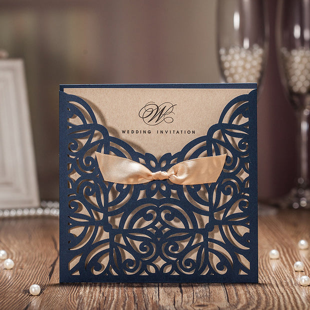 Wedding Invitation Card--6170CW-Rustic Navy - Wforwedding