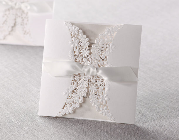 Wedding Invitation Card--838BD-Elegant white - Wforwedding