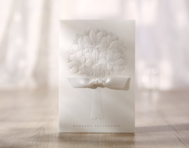 Wedding Invitation Card--3201BH-Elegant white - Wforwedding