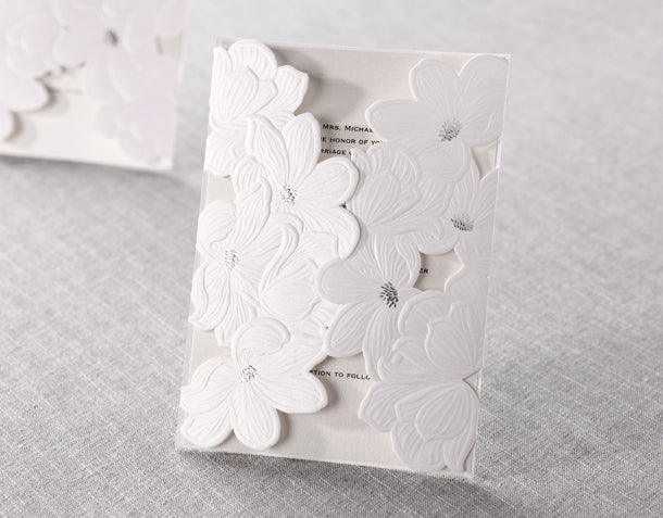 Wedding Invitation Card--837BD-Elegant White - Wforwedding