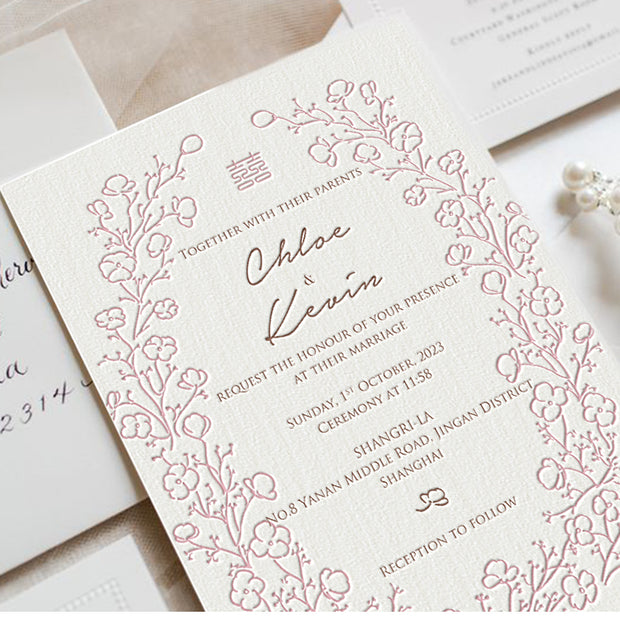 Letterpress Wedding Invitation Card--602LD