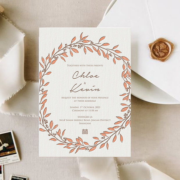 Letterpress Wedding Invitation Card--603LD