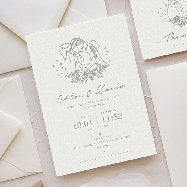 Letterpress Wedding Invitation Card--606LD