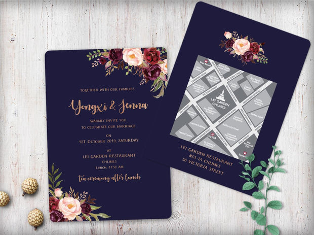 Wedding Invitation Cards--313FD-Navy - Wforwedding