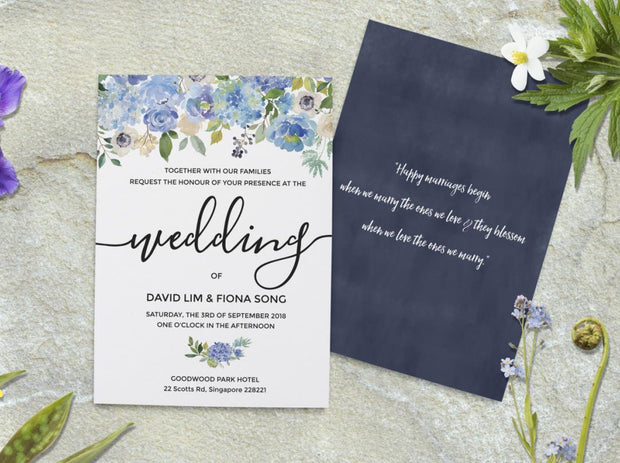 Wedding Invitation Cards--341FD-Blue - Wforwedding