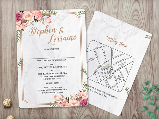 Wedding Invitation Cards--419FD-Marble - Wforwedding