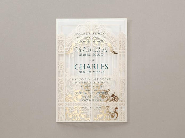 Wedding Invitation Card--6031BD-Laser White - Wforwedding