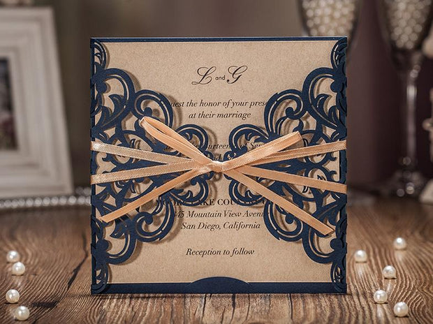 Wedding Invitation Card--6175CW-Navy - Wforwedding