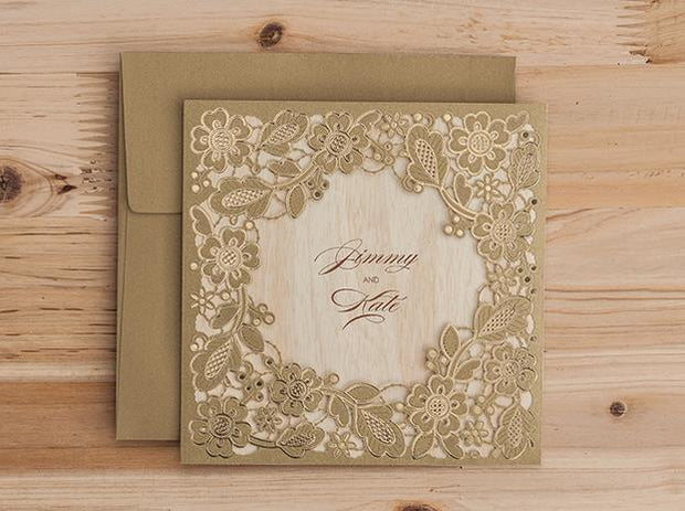 Wedding Invitation Card--5279CW-Gold Laser - Wforwedding
