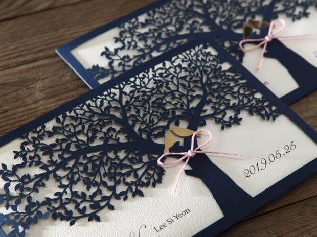 Wedding Invitation Card--6100BH-Laser Navy - Wforwedding