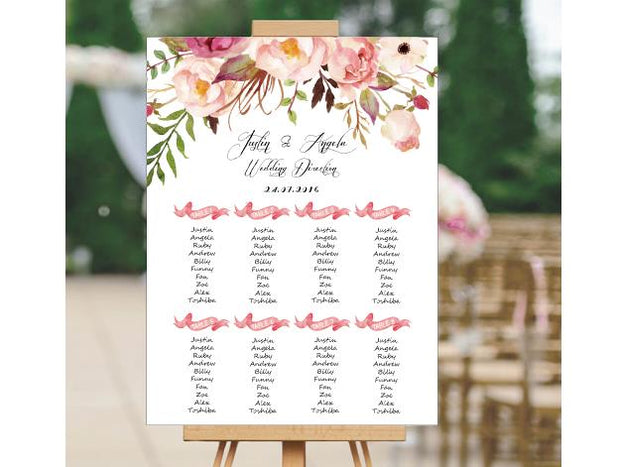 Wedding Signage, sitting plan--109BD-Foam Board - Wforwedding
