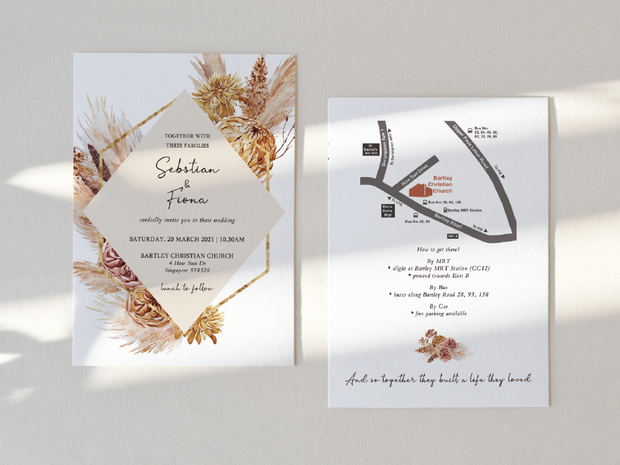 Wedding Invitation Card-306FD-pampas