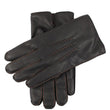 Men's Cashmere Lined Deerskin Leather Gloves with Contrast Stitching
