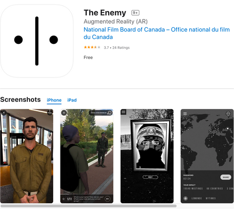 The Enemy Art Installation and AR app project