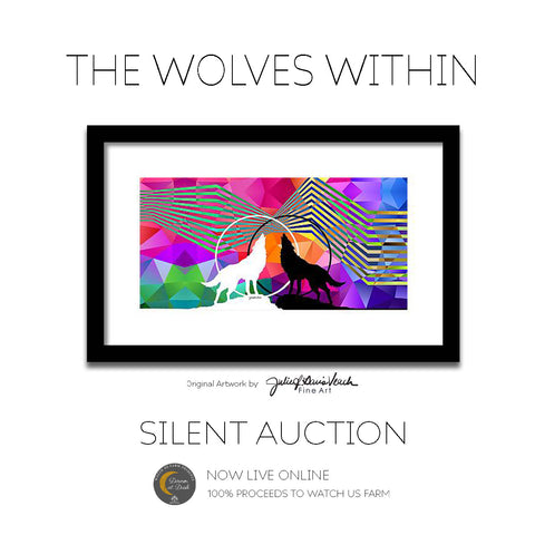 The Wolves Within Original Painting by Julie Davis Veach to benefit Watch Us Farm in Silent Auction
