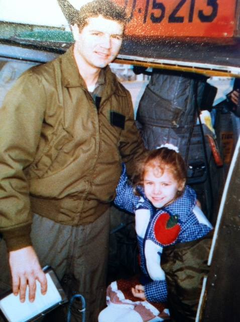 Julie A. Davis Veach (aprox. age 7) and father, US Army Aviation Officer