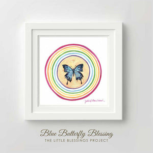 Blue Butterfly Blessing - Fine Art Print by artist Julie Davis Veach
