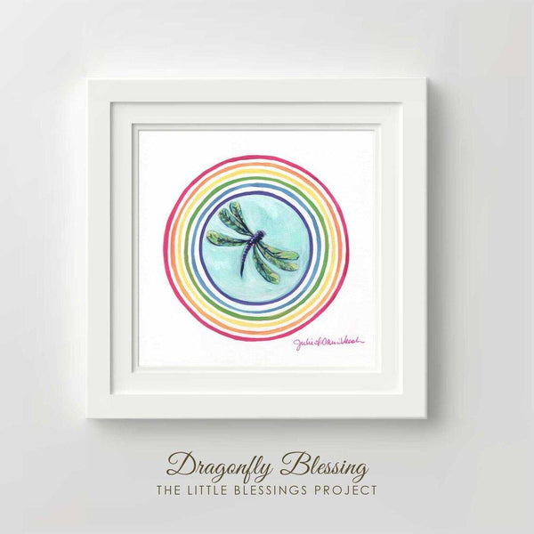 """Dragonfly Blessing"" 8x8"" Original - Framed by Julie Davis Veach"