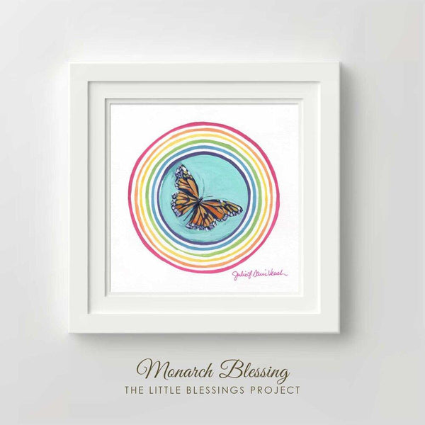 Monarch Butterfly Blessing Original Painting Framed 14x14""