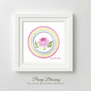 Peony Blessing Original Painting - Framed 14x14""