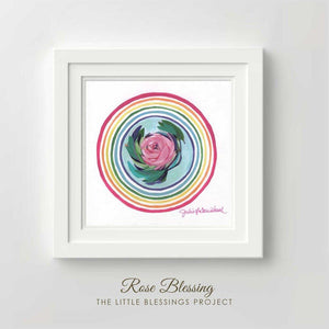 "Rose Blessing Original Painting 14x14"" Framed"