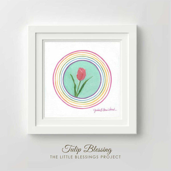 Tulip Blessing Original Painting Framed 14x14""