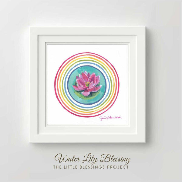 Water Lily Blessing Original Painting Framed 14x14""