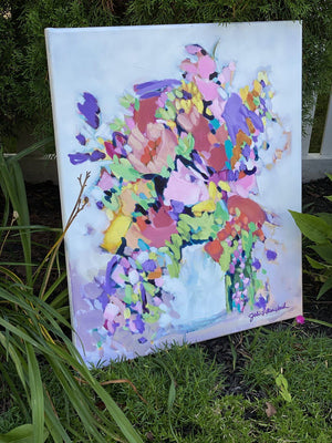 """Best Day Bouquet"" 20x24"" Original on Canvas by artist Julie Davis Veach displayed outside surrounded by a garden"