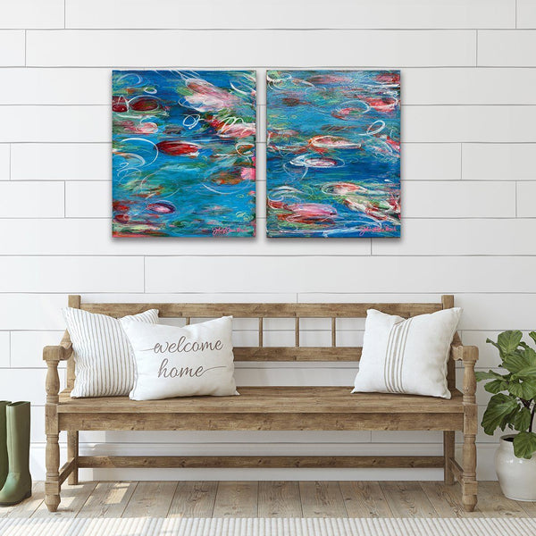 """Monet Monday"" Dyptich Set 16x20"" Originals on Canvas by artist Julie A. Davis Veach displayed together in a contemporary home"