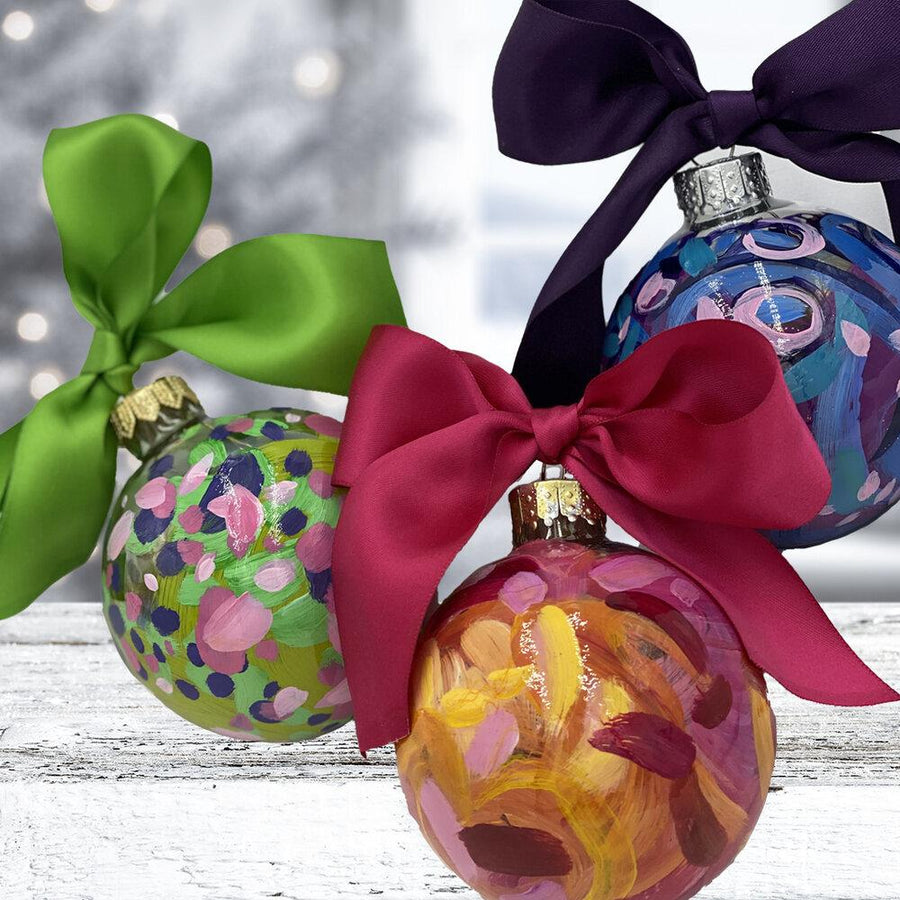 Hand Painted Glass Bauble Ornaments by artist Julie Davis Veach