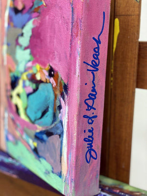 """Mixing Magic""  8x10"" Original on Canvas by Julie Davis Veach close-up view of artist signature on the side of the painting."