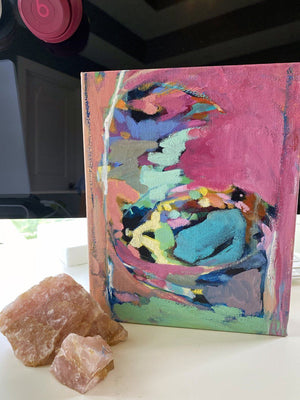 """Mixing Magic""  8x10"" Original on Canvas by Julie Davis Veach displayed with rose quartz on a desk."