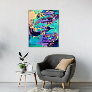 """Personal Power"" 24x36"" Original on Canvas by Julie Davis Veach displayed in contemporary interior with a chair and small table"