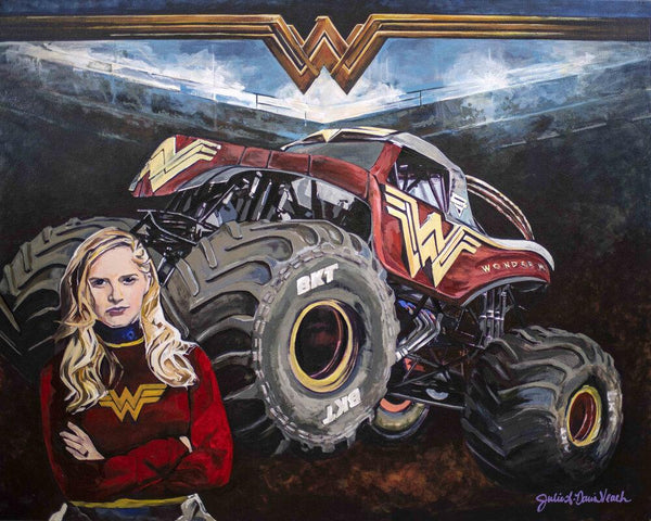 Portrait of Collete Davis and her Wonder Woman Monster Truck, a  professional racecar driver, stunt driver, entrepreneur and national TV Host.
