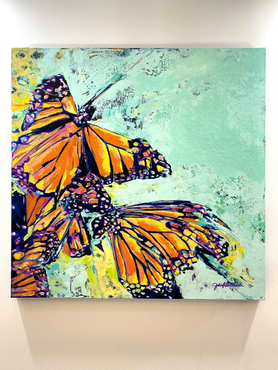 """Whispers Wishes and Butterfly Kisses"" 36x36"" Original on Canvas"