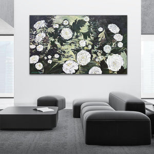 """Zion's Dawning Dahlias"" 36x60"" Original on Large Canvas"