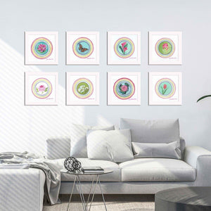 """Calla Lily Blessing"" The Little Blessings Project Fine Art Prints by artist Julie Davis Veach displayed as a set of 8 in a bright contemporary living room"