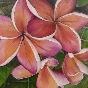 """Plumeria Love"" 36x36"" Original on Canvas by artist Julie Davis Veach"