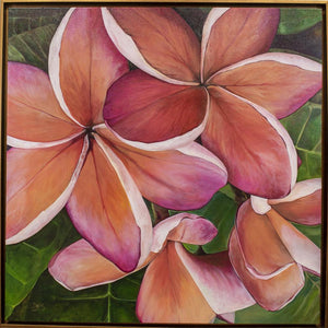 """Plumeria Love"" 36x36"" Original on Canvas by artist Julie Davis Veach framed in a contemporary gold float frame"