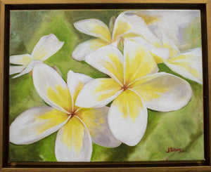"""Plumeria Morning"" 11x14"" Original on Canvas by Julie Davis Veach framed in contemporary gold float frame"