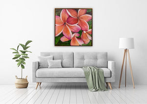 """Plumeria Love"" 36x36"" Original on Canvas by artist Julie Davis Veach displayed in contemportary bright living room interior"