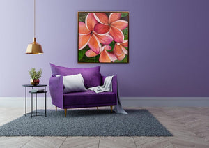 """Plumeria Love"" 36x36"" Original on Canvas by artist Julie Davis Veach displayed in a vivid contemporary interior"