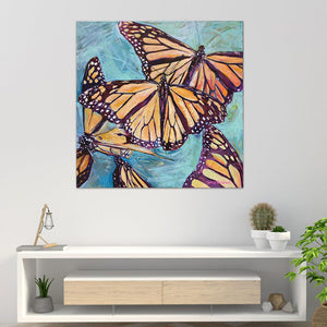 """Transformation Taking Flight"" Original 36x36"" on Large Canvas by Julie Davis Veach displayed in a bright modern interior"