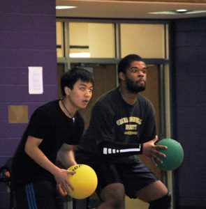 Randy Tran (Left) and Shadeed Drakeford prepare for an incoming throw