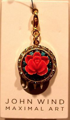 John Wind Charm! Gold Locket w/Rhinestones, Turquoise and Coral Rose Charm!