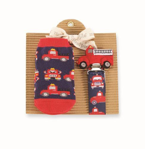 Mud Pie Fire Truck Socks and Pacy Clip Set!