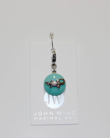 John Wind Charm: Alligator Silver, Aqua Mini Critter!