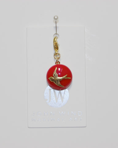 John Wind Charm: Gold Swooping Bird, Red Mini Critters!