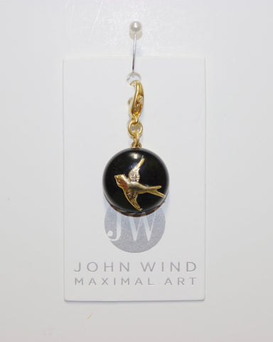 John Wind Charm: Swooping Bird! Jet Black Mini Critter!