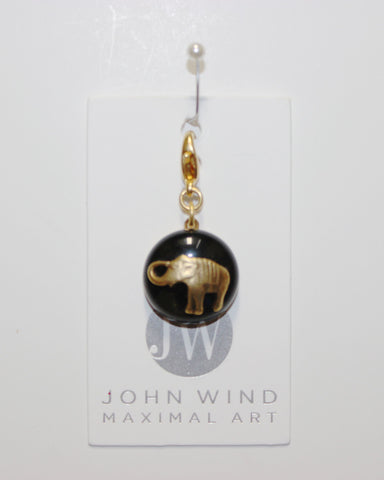 John Wind Charm: Elephant Gold, Jet Black Mini Critter!